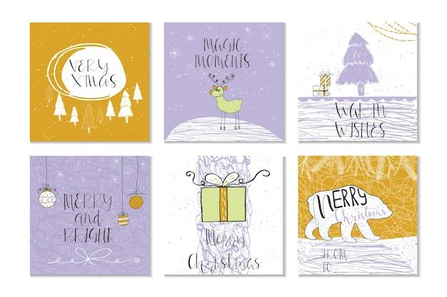 Set van 6 leuke kerstkaarten met de tekst merry christmas