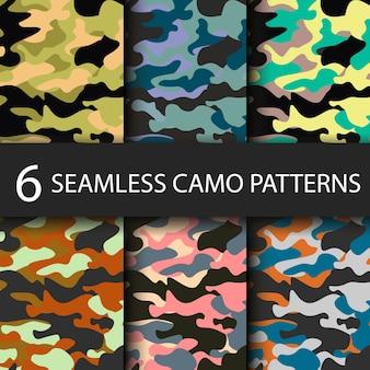 Set van 6 naadloze camouflagepatronen