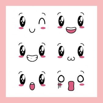 Set van 6 ontwerpen van kawaii-uitdrukkingen