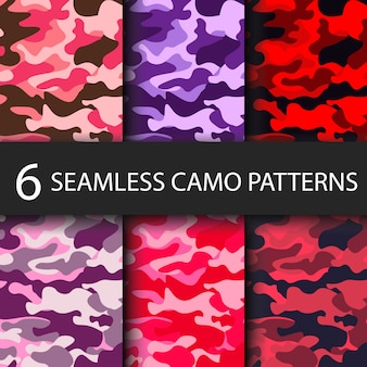 Set van 6 pack camouflage naadloze patronen achtergrond met zwarte schaduw