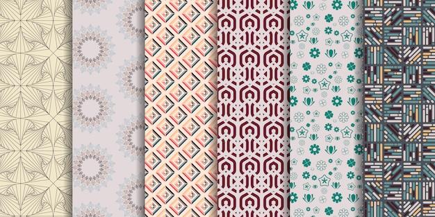 Set van 6 schattige naadloze patronen