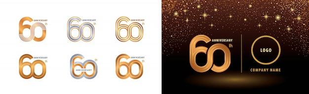 Set van 60e verjaardag logo ontwerp, zestig jaar jubileumfeest