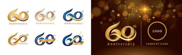 Set van 60e verjaardag logo ontwerp, zestig jaar vieren verjaardagslogo