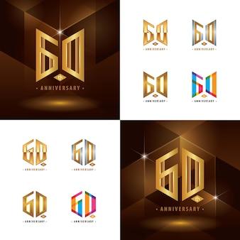 Set van 60e verjaardag logo-ontwerp