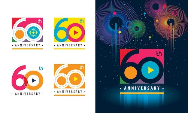 Set van 60e verjaardagslogo kleurrijk