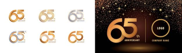 Set van 65e verjaardag logo-ontwerp, vijfenzestig jaar vieren verjaardag logo meerdere regels.