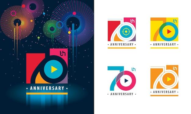Set van 70e verjaardag kleurrijk logo