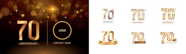 Set van 70e verjaardag logo ontwerp, vieren zeventig jaar verjaardagslogo