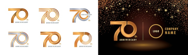 Set van 70e verjaardag logo-ontwerp