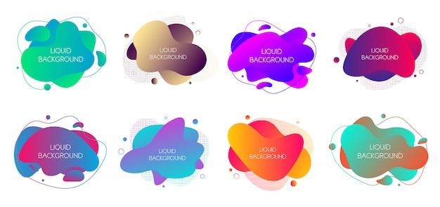Set van 8 abstracte moderne grafische vloeibare elementen.