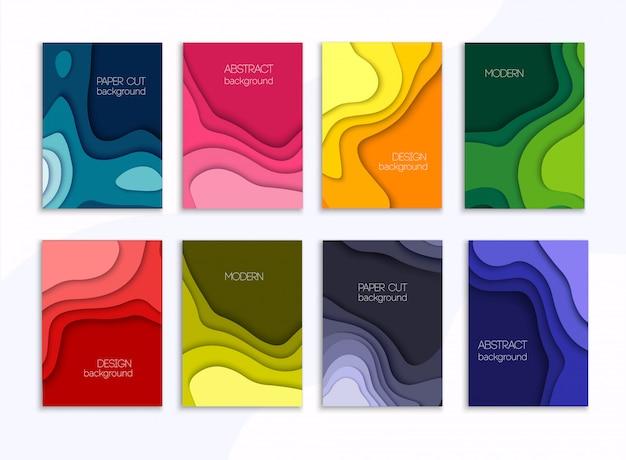 Set van 8 achtergronden met kleurrijke papier gesneden vormen. 3d abstract papier kunststijl cover lay-out sjabloon.