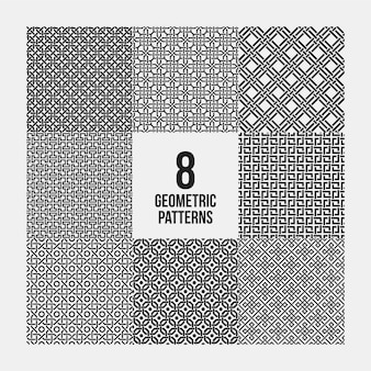 Set van 8 complexe monochrome geometrische patronen. naadloze achtergronden, bruikbaar voor textielontwerp.