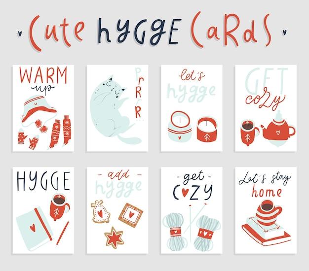 Set van 8 kant-en-klare kaart-ar-posters met hygge-attributen woondecoraties