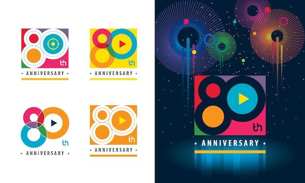 Set van 80ste verjaardag kleurrijk logo