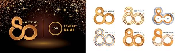 Set van 80ste verjaardag logo-ontwerp