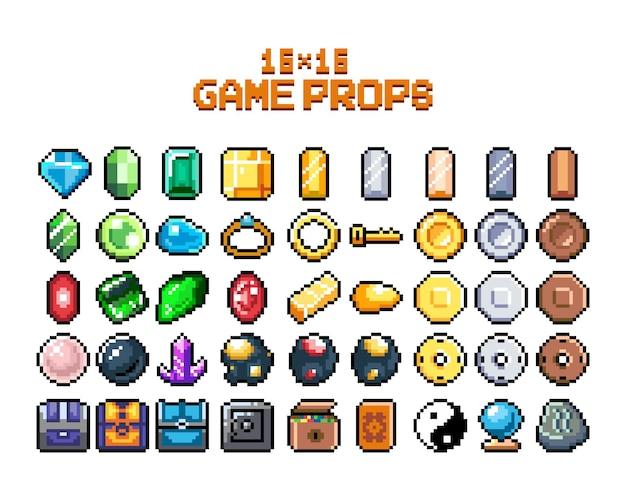 Set van 8bit pixel grafische pictogrammen geïsoleerde vectorillustratie game art sieraden sieraden kisten