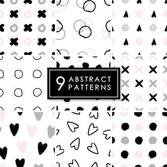 Set van 9 abstracte naadloze patronen.