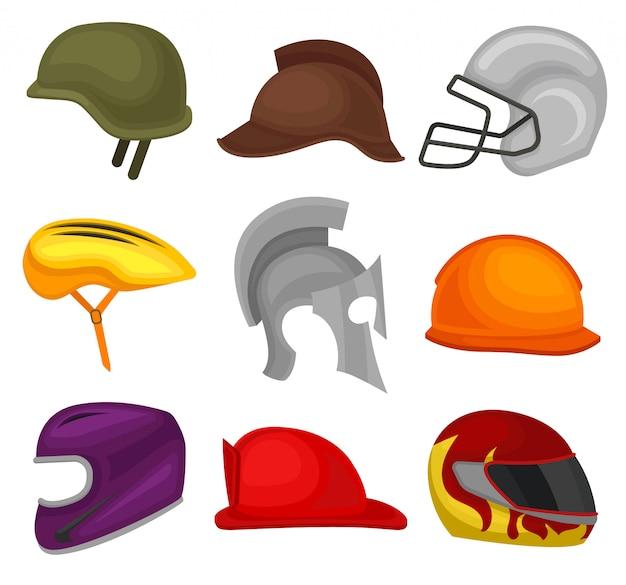 Set van 9 helmen. beschermende hoofdbedekking voor soldaat, ruiter, voetballer, fietser, ridder, bouwer en brandweerman