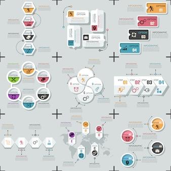 Set van 9 platte minimale infographic sjablonen