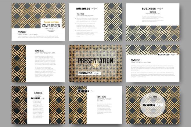 Set van 9 sjablonen voor presentatiedia's. islamitisch goudpatroon