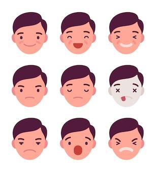 Set van 9 verschillende emoties