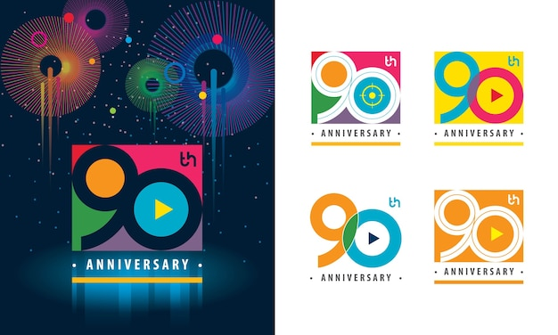 Set van 90e verjaardag kleurrijk logo