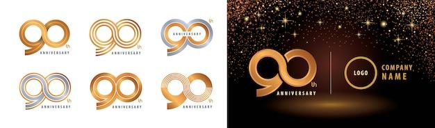Set van 90e verjaardag logo-ontwerp, negentig jaar jubileumviering