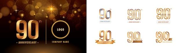 Set van 90e verjaardag logo ontwerp, negentig jaar vieren verjaardagslogo