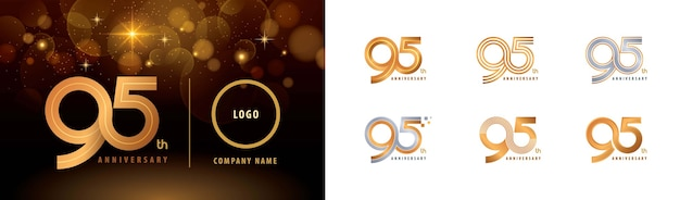 Set van 95e verjaardag logo ontwerp, vijfennegentig jaar vieren verjaardag logo meerdere regels