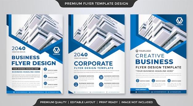Set van a4 zakelijke flyer-sjabloonontwerp met abstract en modern stijlgebruik voor zakelijke omslag en folder
