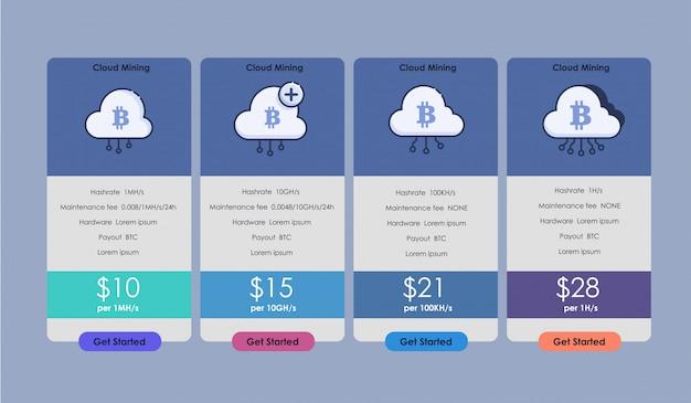 Set van aanbiedingstarieven voor voor cryptocurrency-mining. set van prijstabel, bestelling, vak, knop, lijst met plan voor website in plat ontwerp.