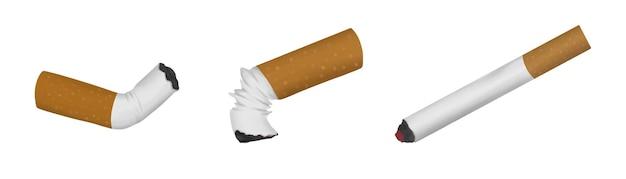 Set van aangestoken verfrommelde gerookte sigaretten geïsoleerd