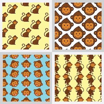 Set van aap naadloze patroon