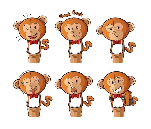 Set van aap vingerpoppetje stripfiguur