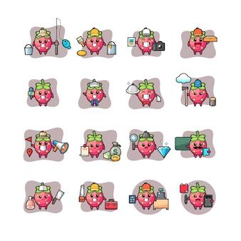 Set van aardbei kawaii karakter beroep