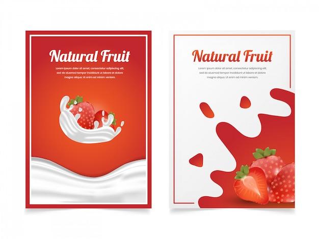 Set van aardbei melk flyer ontwerpsjabloon