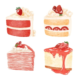 Set van aardbeientaarten en desserts illustratie
