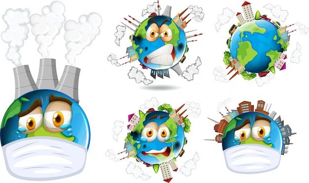 Set van aarde pictogram