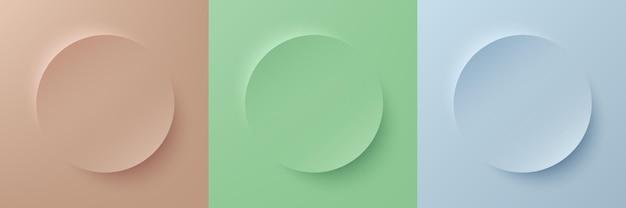 Set van abstract 3d beige lichtgroen en blauw pastelkleur cirkelframe voor productweergave