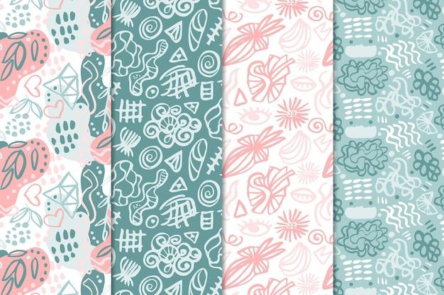 Set van abstract getekende patronen