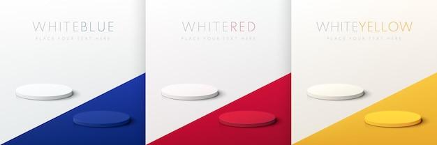 Set van abstract rood blauw geel en wit 3d cilinder voetstuk podium op contrast vloer achtergrond