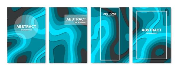 Set van abstracte 3d-achtergronden. papier gesneden vormen. sjabloon voor banner, brochure, boekomslag, boekje ontwerp. illustratie.