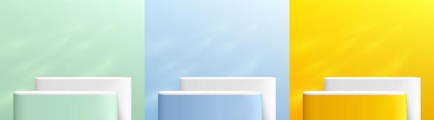 Set van abstracte 3d geel blauw groen en wit ronde hoek voetstuk podium met raamverlichting
