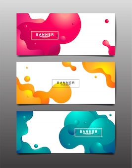 Set van abstracte achtergrond, vloeistof, vloeistof, structuurontwerp, sjabloon lay-out