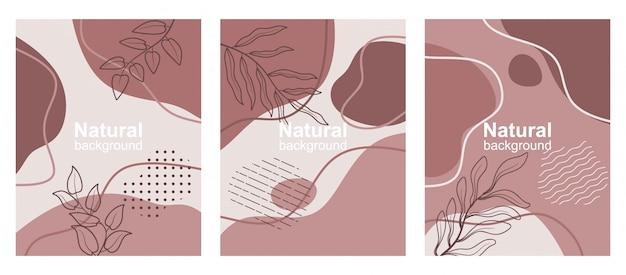 Set van abstracte achtergronden met kopie ruimte voor tekst, bladeren en planten.