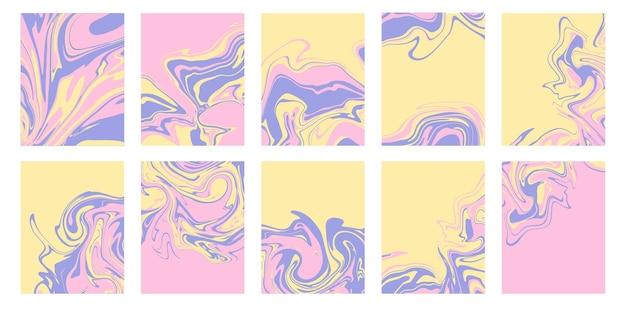 Set van abstracte achtergronden met marmer of epoxy texturen in lichtroze, lavendel en geel palet. eigentijdse trendy prints voor omslagontwerpen, huwelijksuitnodigingen, hoesjes, inpakpapier.