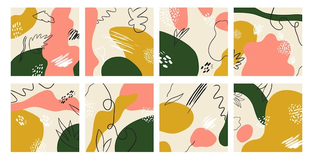 Set van abstracte achtergronden met memphis-stijl