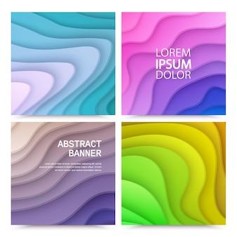 Set van abstracte achtergronden met papier gesneden vormen van kleurrijke gradiëntkleuren