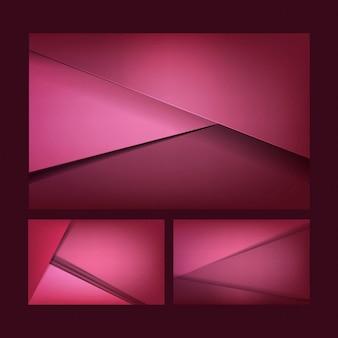 Set van abstracte achtergrondontwerpen in donker roze