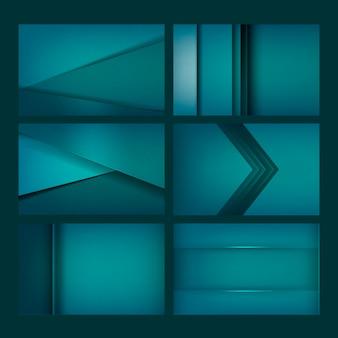 Set van abstracte achtergrondontwerpen in het groen